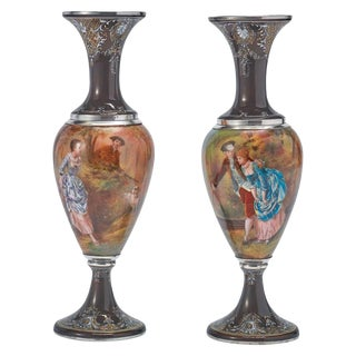 Pair of French Silver & Limoges Enamel Vases, Retailed by Tiffany & Co. For Sale