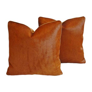 Custom Tailored Italian Hair-On-Hide Cowhide Feather/Down Pillows - Pair For Sale