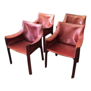 Mario Bellini for Cassina Italy 413 Cab Leather Dining Armchairs - Set of 4 For Sale