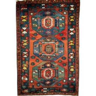 Late 1800s Kazak Village Area Rug- 4′9″ × 7′1″ For Sale