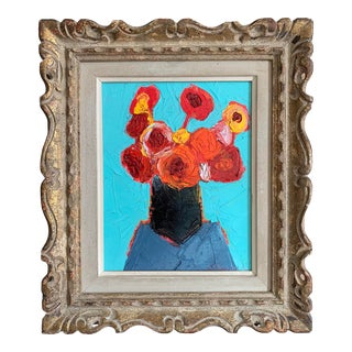 Original Contemporary Alexandra Brown Floral Still Life Oil Painting Vintage Frame For Sale