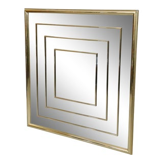 """Mid Century Geometric Square Wall Mirro With Brass Frame 36 X 36"""" Inches For Sale"""