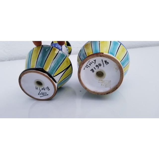 1970s Vintage Italian Hand Painted Ceramic Salt and Pepper Shakers - A Pair For Sale In Miami - Image 6 of 9