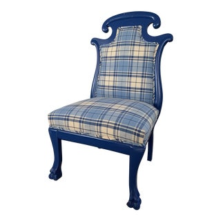 Vintage Hollywood Regency Low Chippendale Chair For Sale