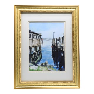 Original Signed and Framed Watercolor of a Dock For Sale