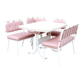 Vintage MCM Pink and White Banquette Dining Set by Stoneville Furniture - 5 Pieces For Sale