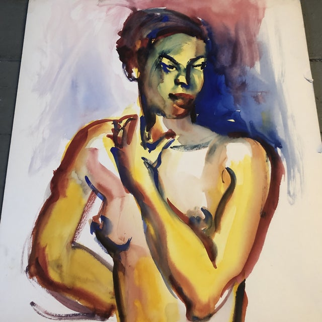 Original painting on paper Unsigned Study 10.5 x 14 unframed