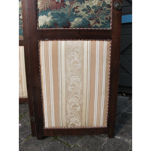 Antique Fabric Covered Folding Screen For Sale - Image 5 of 6