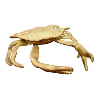 Large Vintage Brass Hinged Lid Crab