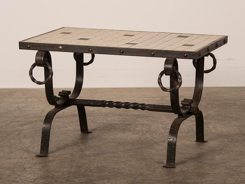 Art Deco Period Iron Base Coffee Table With A Hand Set Tile Top From France  Circa
