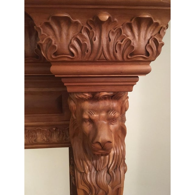 English Humongous English Style Custom Carved Wood Lion Mantelpiece For Sale - Image 3 of 13