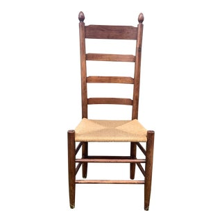 Antique Rush Seat Ladder Back Dining Chair For Sale