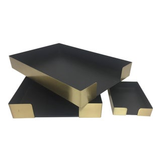 Knoll Brass Desk Trays - Set of 3 For Sale