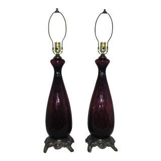 1950s Amethyst Glass Murano Table Lamps - a Pair For Sale