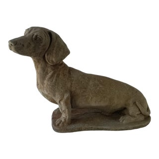 Vintage Abstract Dachshund Dog Concrete Sculpture For Sale