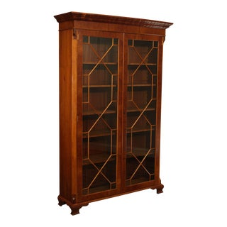English Yew Wood 2 Door George II Style Library Bookcase For Sale