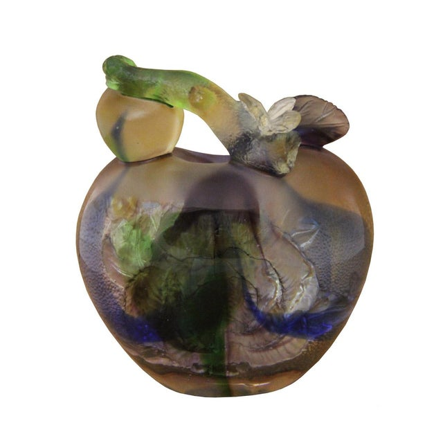 Liuli Crystal Glass Pate-De-Verre Rose Apple Paperweight For Sale - Image 5 of 5