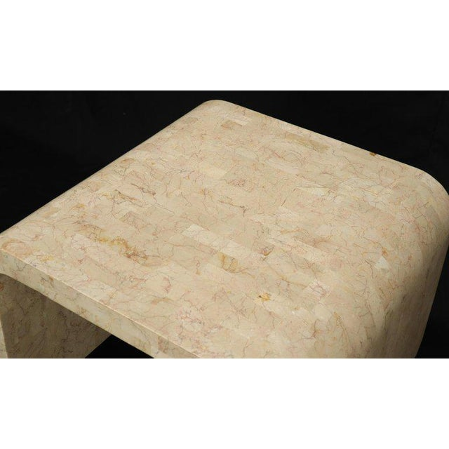 1970s Tessellated Stone Veneer C Shape Side Coffee End Table For Sale - Image 5 of 8