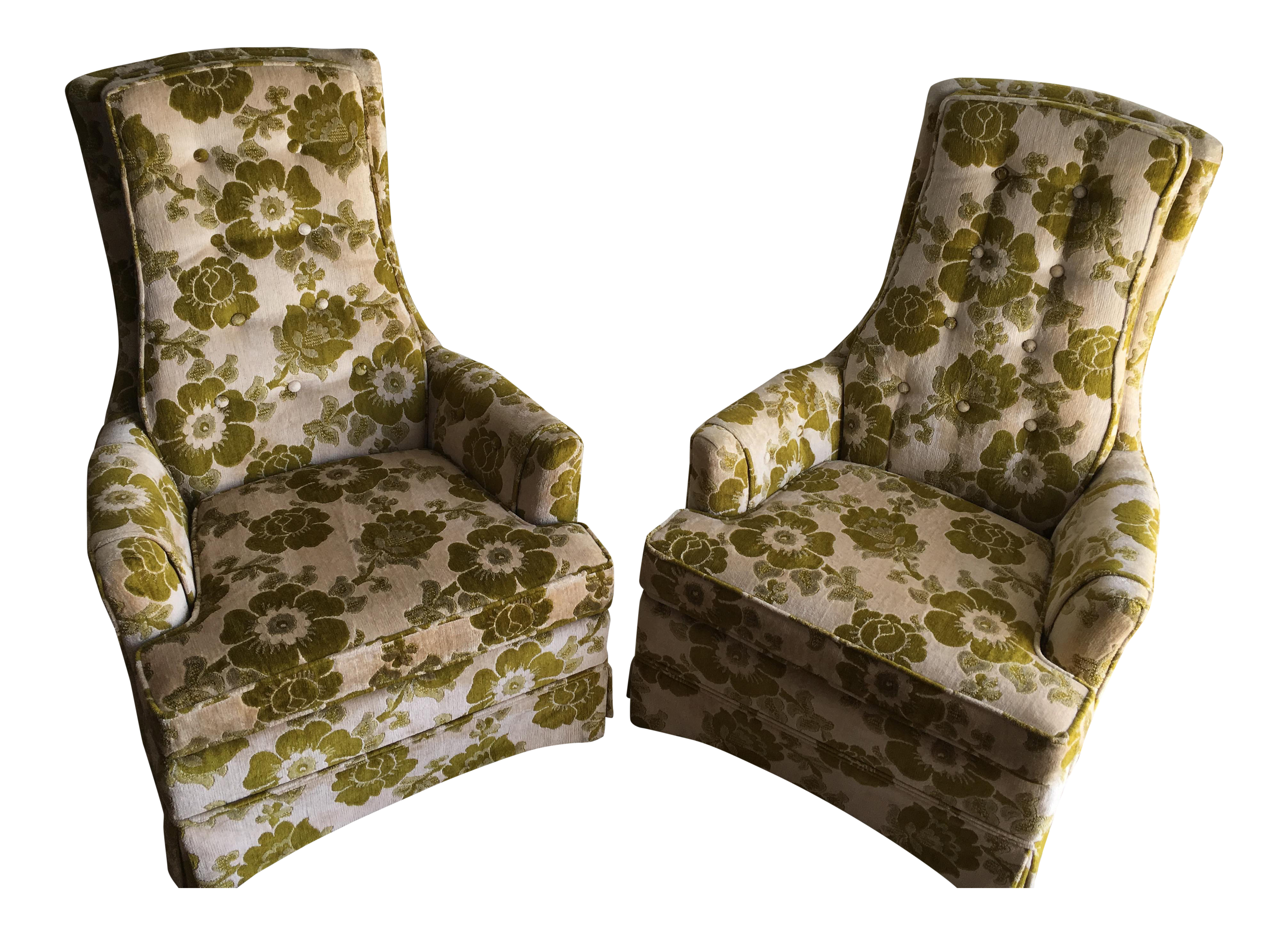 Vintage Mid Century Modern Upholstered High Back Chairs   A Pair   Image 1  Of 10