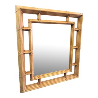 Late 20th Century Henredon McGuire Style Bamboo Mirror For Sale