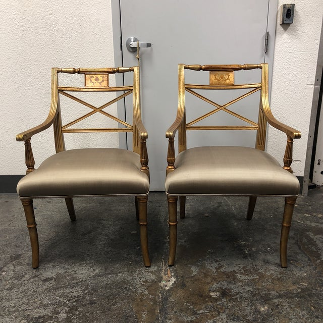 Louis XVI Gold Leaf Gray Silk Upholstered Armchairs - a Pair For Sale - Image 13 of 13