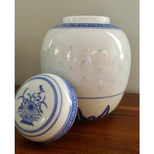 "Vintage Blue & White ""Rice Flower"" Pattern Ginger Jar For Sale In Charleston - Image 6 of 8"