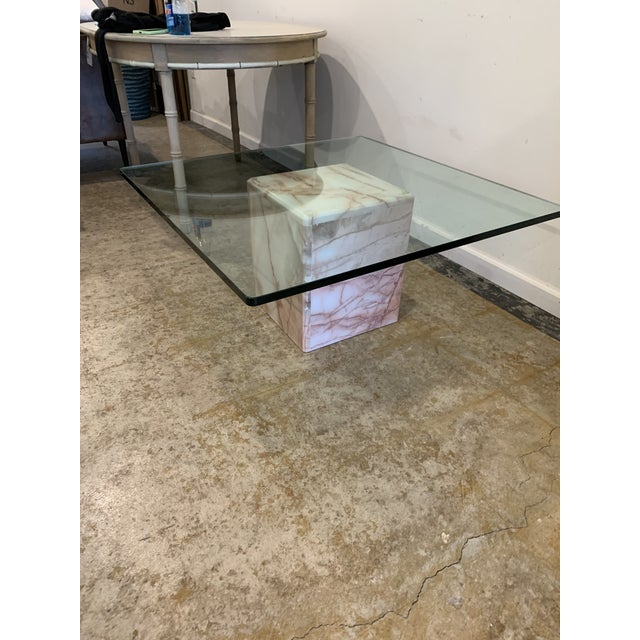 1970s Glass and Pink Marble Coffee Table For Sale - Image 4 of 9