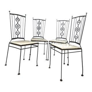 Mid Century Gallo Furniture Iron Dining Chairs- Set of 4 For Sale