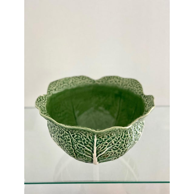 Green Vintage Bordallo Pinheiro Green Cabbage Leaf Bowl For Sale - Image 8 of 8