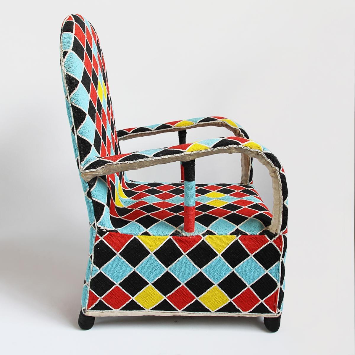 Charmant Nigerian Yoruba Beaded Chair   Image 3 Of 5