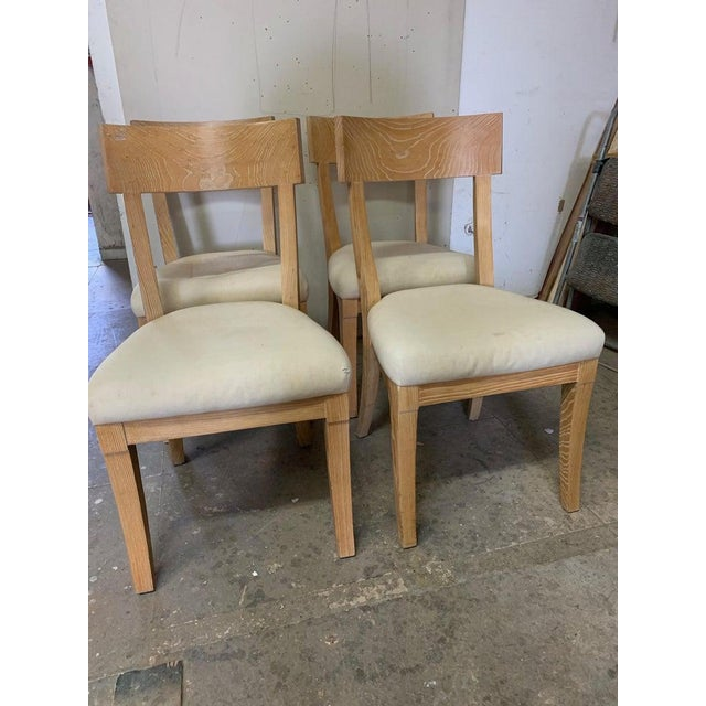 Mid-Century Modern Set of Four Cerused Oak Dining Chairs For Sale - Image 3 of 7