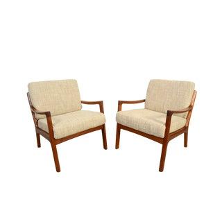 Vintage Mid Century Teak Ole Wanscher Lounge Chairs- A Pair For Sale