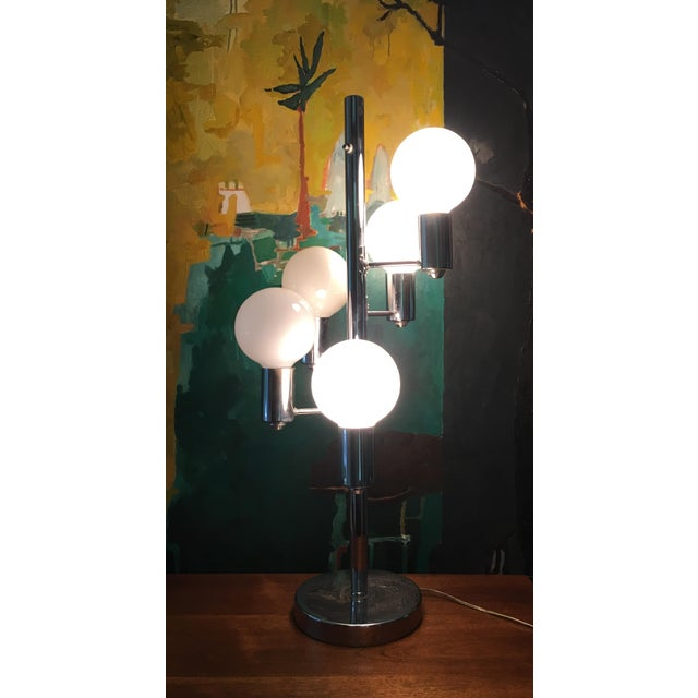 Mid Century Chrome Waterfall 5 Globe Lamp For Sale - Image 9 of 10
