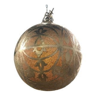 Large Nickel Finish Moroccan Orb Pendant Chandelier For Sale