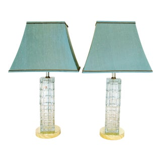 Column Crystal Table Lamps With Teal Shades - a Pair