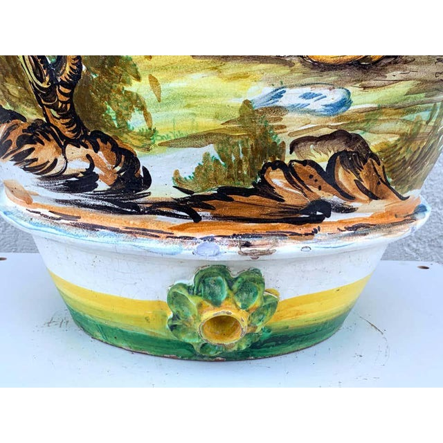 Mid 20th Century Italian Majolica Scenic Olive Oil Jar/ Jardinière, Provenance Celine Dion For Sale - Image 5 of 12