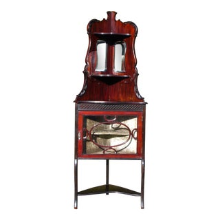 Vintage Cherry Wood Petite Display Vitrine Corner China Curio Cabinet W/ Mirrors For Sale