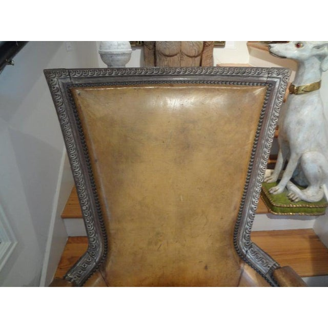1920s Antique French Louis XVI Style Bergere With Distressed Leather Upholstery For Sale - Image 5 of 13