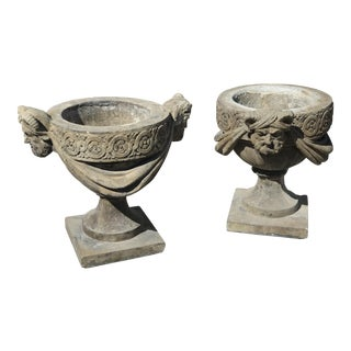 Vintage English Stone Satyr Planters - A Pair