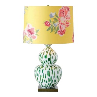 Reef Palm Green & White Spotted Over-Sized Table Lamp- With Yellow Floral Shade For Sale
