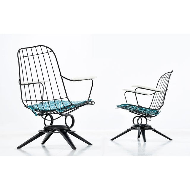 Homecrest Mid-Century Modern Outdoor Chairs Aqua and Black For Sale In Tampa - Image 6 of 6