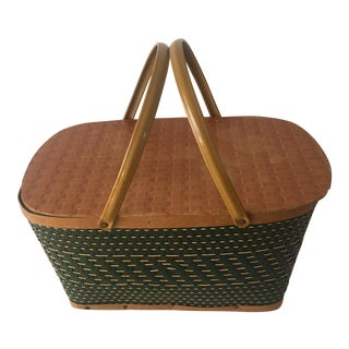 Hunter Green Vintage Picnic Basket