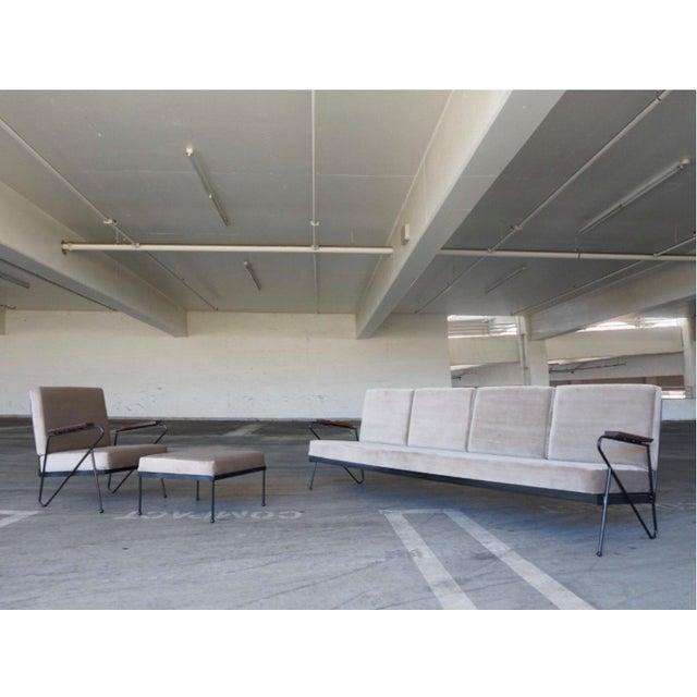 Modern Gray Velvet Sofa, Lounge & Ottoman - Set of 3 - Image 2 of 7