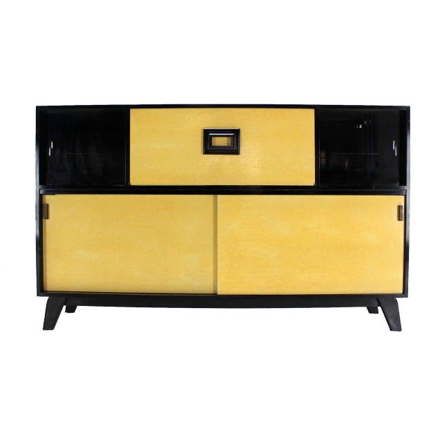 Paint Mid-Century Modern Credenza Black Lacquer Gredenza Bar Liquor Cabinet For Sale - Image 7 of 8