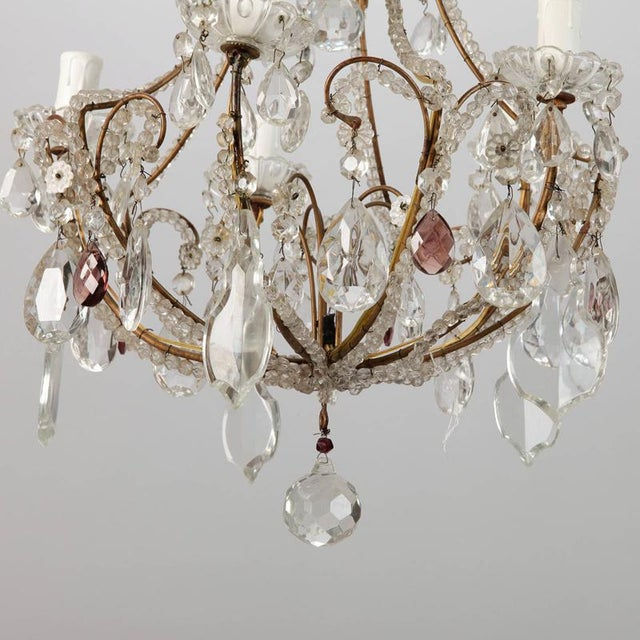 French Five Light Brass Beaded Cage Shape Chandelier - Image 2 of 6