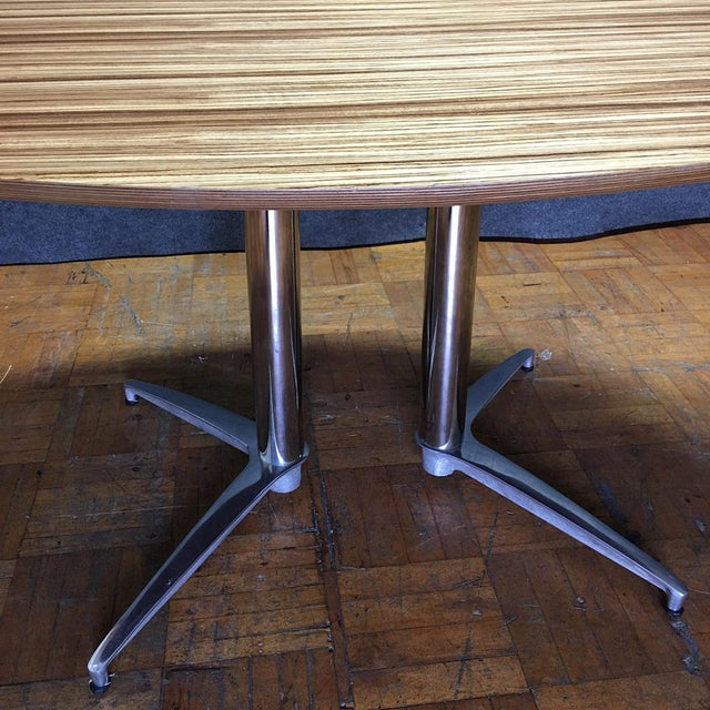 Crate & Barrel Modern Round Dining Table - Image 6 of 10