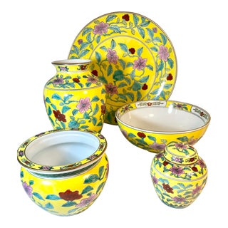 Yellow Chinese Hand Painted Porcelain Ware Set - 5 Pieces For Sale
