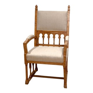 Gothic Birch Wood Armchair, 19th Century Russia For Sale
