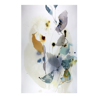 "Ana Zanic ""Dark Bloom W-2019-1-12"" Abstract Watercolor Painting on Paper For Sale"