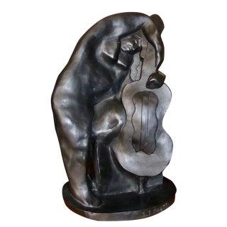 "Jan & Joel Martel Art Deco Cubist ""Woman with Cello"" in Terra-cotta For Sale"